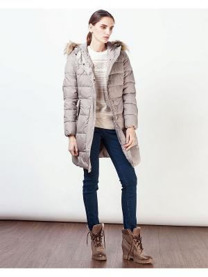 Стеганое пальто INCITY. Цвет: бежевый