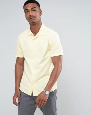 ASOS Желтая рубашка классического кроя с отложным воротником. Цвет: желтый