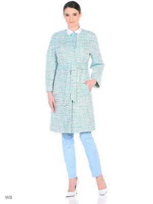Пальто женское Lea Vinci. Цвет: светло-голубой