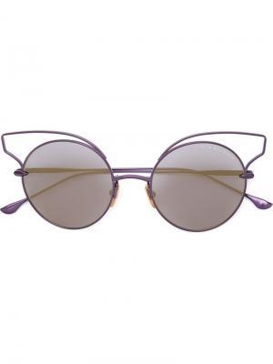 Солнцезащитные очки в круглой оправе Dita Eyewear. Цвет: розовый и фиолетовый