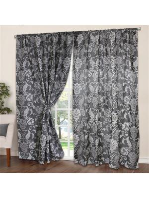 Комплект портьер Amore Mio Жаккард 150*250 см - 2 шт. Черно-серый. Цвет: серый, черный