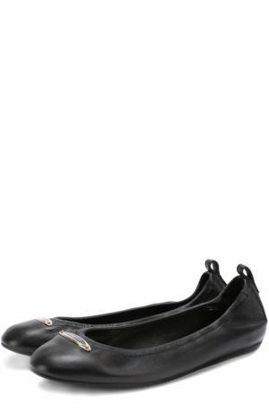 Кожаные балетки с логотипом бренда Lanvin. Цвет: черный