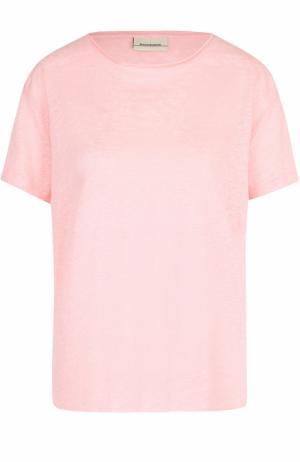 Льняная футболка прямого кроя By Malene Birger. Цвет: розовый