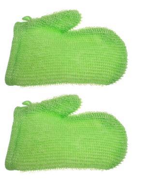 Мочалка - рукавица для тела, зеленая, набор из 2 шт. Радужки. Цвет: зеленый