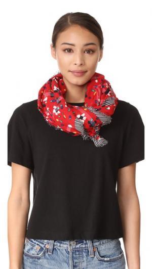 Большой шарф с нарисованными цветами и сердечками Marc Jacobs