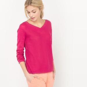 Пуловер с V-образным вырезом спереди и сзади, из хлопка льна La Redoute Collections. Цвет: розовый меланж,телесный,темно-синий