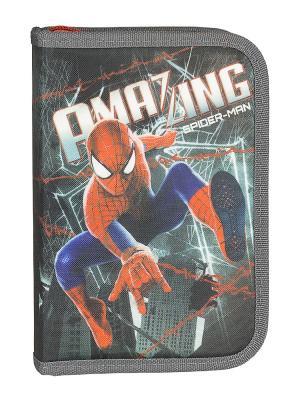 Пенал жесткий тканевый с клапаном, 19 предметов.  Amazing Spider-man 2. Цвет: красный, серо-голубой, синий