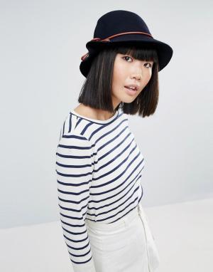 Eugenia Kim Темно-синяя шляпа с коричневым бантиком Genie by Eloise Bu. Цвет: темно-синий