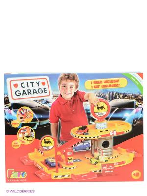 Игровой набор Парковка 2-х уровневая FARO. Цвет: желтый