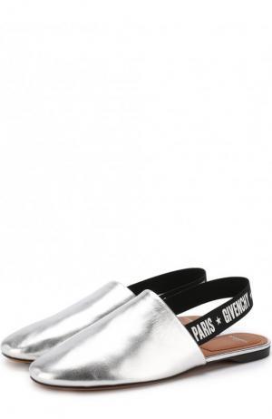 Сабо из металлизированной кожи с ремешком Givenchy. Цвет: серебряный
