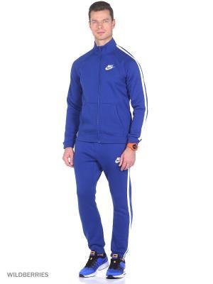 Спортивный костюм M NSW TRK SUIT FLC SEASON Nike. Цвет: синий, белый