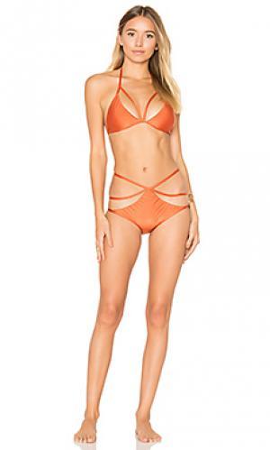 Комплект бикини из тюля ADRIANA DEGREAS. Цвет: оранжевый