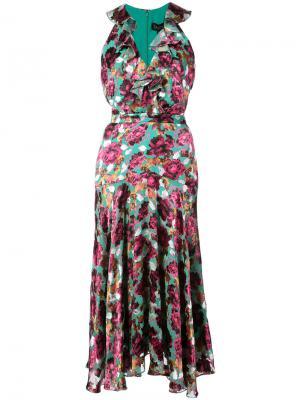Платье с цветочным рисунком Saloni. Цвет: многоцветный