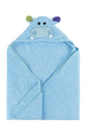 Голубое детское полотенце с капюшоном Zoocchini. Цвет: multicolor
