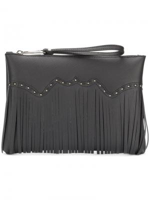 Fringed studded clutch bag Gum. Цвет: чёрный