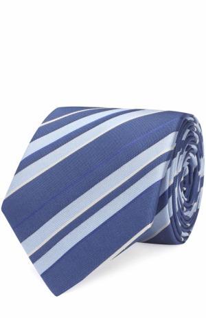 Шелковый галстук в полоску Lanvin. Цвет: голубой