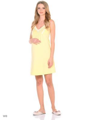 Ночная сорочка для беременных и кормящих FEST. Цвет: желтый, белый