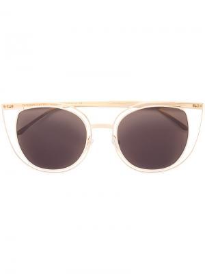Солнцезащитные очки в оправе кошачий глаз Thierry Lasry. Цвет: металлический