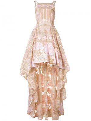 Асимметричное платье с цветочным узором Marchesa Notte. Цвет: розовый и фиолетовый