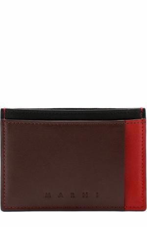 Кожаный футляр для кредитных карт с контрастной отделкой Marni. Цвет: бордовый
