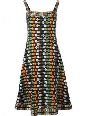 Платье с цветочной вышивкой Tory Burch. Цвет: чёрный