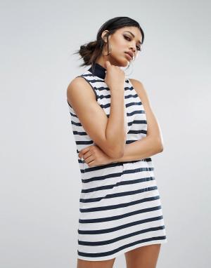 Daisy Street Свободное платье в полоску с воротником-стойкой. Цвет: черный