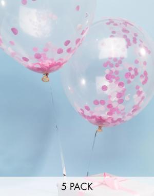 Ginger Ray 5 воздушных шаров с розовым конфетти. Цвет: мульти