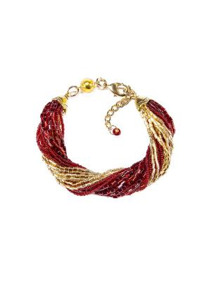 Браслет бисерный, 24 нитей, цвет 10 Bottega Murano. Цвет: красный, золотистый