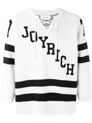 Трикотажный пуловер в хоккейном стиле Joyrich. Цвет: белый