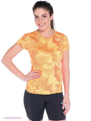 Футболка Allover Graphic Top SS ASICS. Цвет: оранжевый