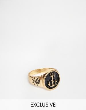 Designsix Кольцо-печатка с якорем. Цвет: золотой