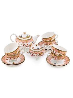Чайный сервиз на 6 персон Italy Design Elff Ceramics. Цвет: розовый