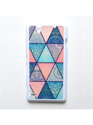 Чехол для Sony Xperia C4 Геометрический принт Boom Case. Цвет: бирюзовый, розовый