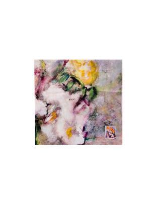 Платок Лилии и флоксы, 90х90 см ArtNiva. Цвет: светло-серый, оранжевый