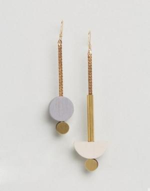 Wolf & Moon Серьги-подвески and Luna. Цвет: золотой