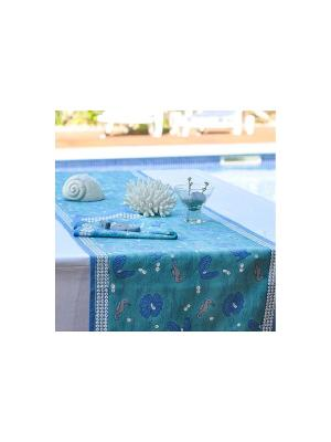 Дорожка Hippocampe turquoise-blue /Морской конек бирюзовый-синий/ 45*180см, 100% хлопок Mas d'Ousvan. Цвет: морская волна