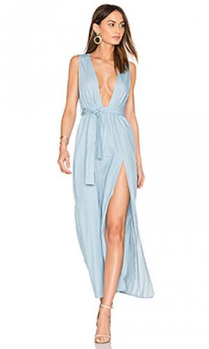 Платье с глубоким вырезом esperanza LIONESS. Цвет: синий