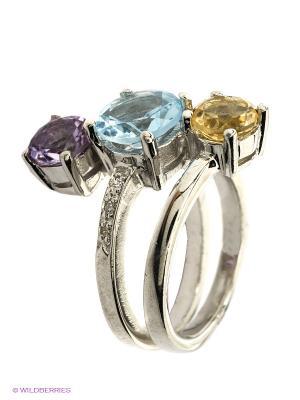 Кольцо BALEX. Цвет: серебристый, сиреневый, желтый, голубой