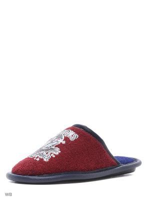 Туфли комнатные с верхом из текстильных материалов детские и подростковые. BRIS. Цвет: красный