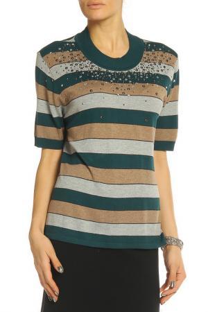 Блуза Elisa Fanti. Цвет: полосатый, зелено-бежевый