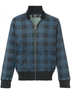 Клетчатая куртка-бомбер Rrl. Цвет: синий