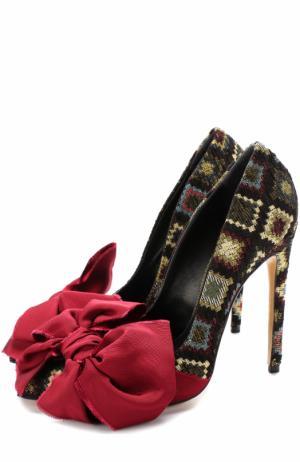 Текстильные туфли Noel с бантом на шпильке Aleksandersiradekian. Цвет: черный