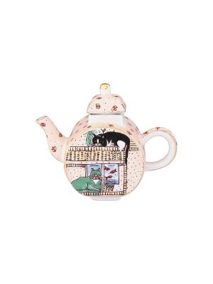 Сувенир-чайник Кошки Elan Gallery. Цвет: кремовый, черный, зеленый