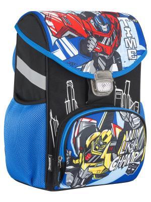 Ранец (рюкзак) профилактический с эргономической спинкой Transformers Prime. Цвет: черный, голубой, красный