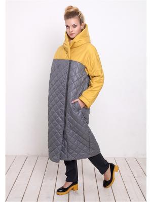 Пальто MAYAMODA. Цвет: желтый, серый