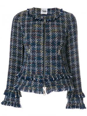 Твидовый пиджак с бахромой Twin-Set. Цвет: многоцветный