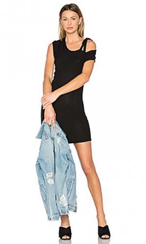 Мини платье с открытыми плечами kris Riller & Fount. Цвет: черный
