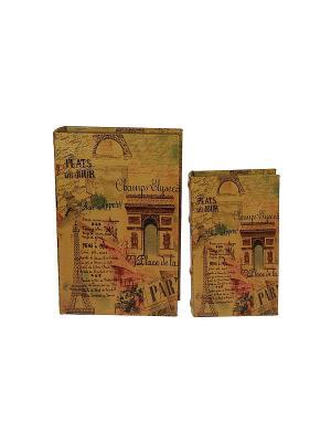 Набор шкатулок-фолиантов Франция из 2-х шт. Русские подарки. Цвет: коричневый