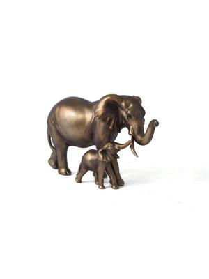 Фигура декоративная Слоны-мама и малыш 30*13*18см Русские подарки. Цвет: бронзовый