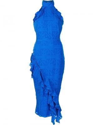 Приталенное платье с рюшами Saloni. Цвет: синий